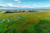 呼伦贝尔草原绿色牧场