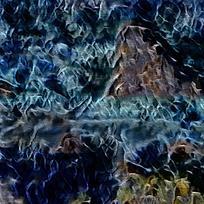 南北欧式火焰抽象油画
