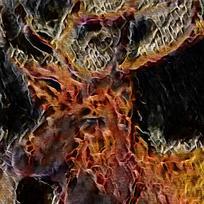 唯美抽象火焰艺术油画