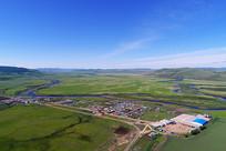 中俄边境边塞村庄风景