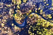 航拍河湾彩林
