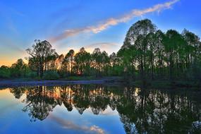 森林湖泊暮色