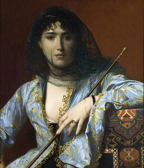 蒙着面纱的美女油画