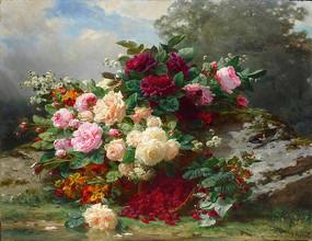 秋天的玫瑰油畫