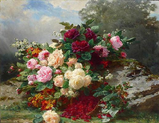 秋天的玫瑰油画