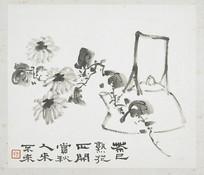 水墨画-菊花