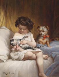 女孩和小猫小狗油画
