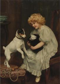 小猫和小狗和女孩油画