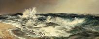 汹涌的大海油画