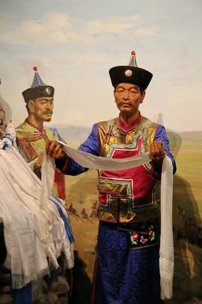 蒙古族献哈达蜡像