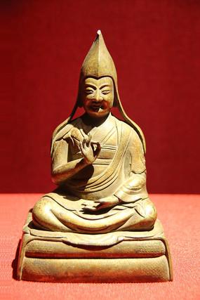 祖师像黄铜鎏金西藏