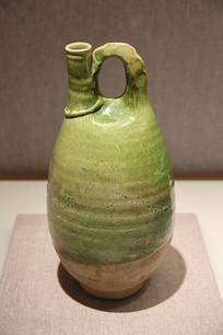 绿釉捏梁鸡冠壶