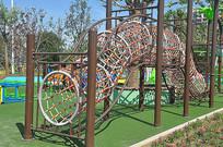室外儿童游乐场的攀爬网