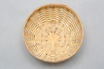 俯视竹编小篮子竹碗