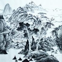 水墨山景画