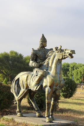 蒙古族骑马将士雕像
