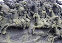 蒙古骑兵铜雕像