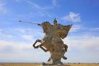 张骞骑马奔驰出塞雕像