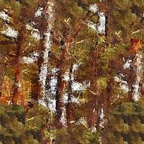 抽象树林油画
