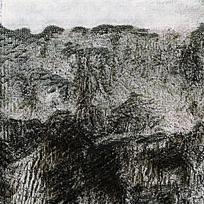黑白色水墨山水痕迹图