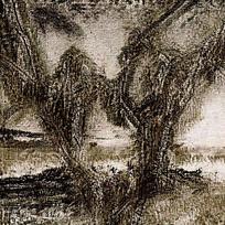 水墨风高山树木特写图