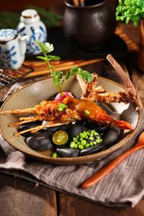 新鲜美味大虾摄影图