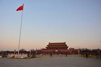 北京天安门广场日出升旗