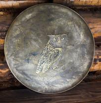 猫头鹰铜盘