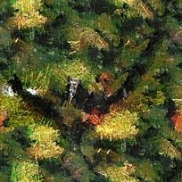 森林抽象油画
