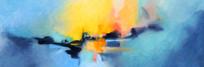 蓝色抽象艺术无框画