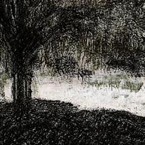 水墨河边大树
