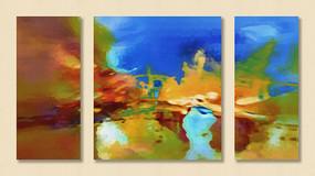 抽象三拼抽象装饰画组合画