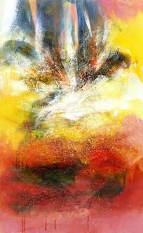 手绘抽象油画竖版壁画