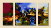组合抽象客厅油画