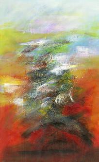 暖色调竖版抽象壁画背景