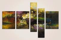 高雅的五联抽象油画