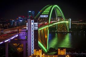 卢浦大桥绿色灯光秀