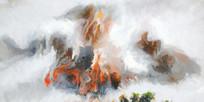 新中式风格水墨山水风景壁画