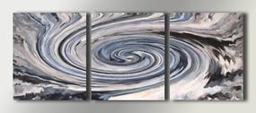 三联抽象无框画