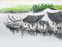 水乡古镇墙画