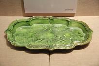 绿釉印花海棠盘辽代