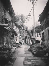 黑白图片-古街