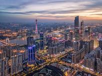 广州夜景城市航拍
