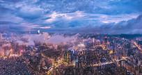 航拍广州夜景城市风光