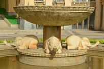 欧式风格喷泉大象雕塑