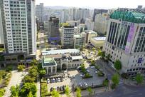 韩国京畿道水原市城市俯拍