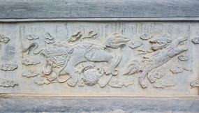 狮子石雕墙面装饰