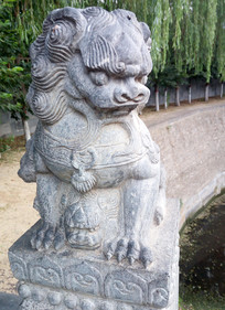 守门石狮子雕塑