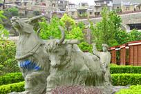 甘堡寨藏族耕作雕塑二牛抬杠