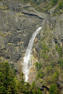 四川毕棚沟悬崖喷涌而出的瀑布
